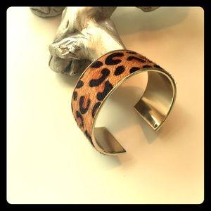 Leopard print calf hair wristlet